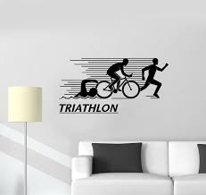 Vinyl Wall Decal Athlete Letter Triathlon Sports Swimming Cycling Runn Wallstickers4you