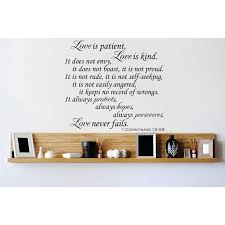 Custom Wall Decal Vinyl Sticker Love Is Patient Love Is Kind It Does Not Envy It Does Not Boast It Is Not Proud Quote Home Decor 18x18 Walmart Com Walmart Com