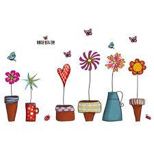 Amazon Com Wall Sticker Flowers Pots Small Garden Plants Butterflies Paper Home Decal Removable Wall Vinyl Window Decor Living Room Bedroom Pvc Art Waterproof Diy Sticker Arts Crafts Sewing