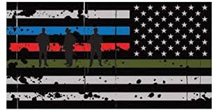 Amazon Com Reverse Tattered Thin Blue Line Flag Sticker Military Firefighter Police America Truck Car Decal Vinyl Bumper Sticker Sticks To Any Surface 5 Kitchen Dining