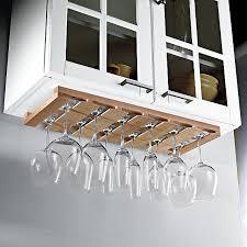 wooden hanging stemware rack wine
