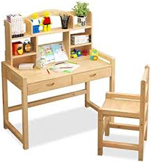 Amazon Com Pnygjcrtxxzy Solid Wood Kids Desk And Chair Set Student Desk Height Adjustable Ergonomic Children S School Workstation With Storage Double Drawer Color Wood Color Furniture Decor