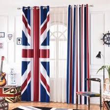 Ins Cartoon British Flag Stripe Blackout Curtains For Kids Room Printed Curtain Living Room Bedroom Window Treatment Bedroom Curtains Aliexpress
