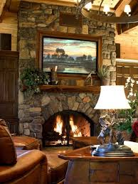 great stone fireplace with built in