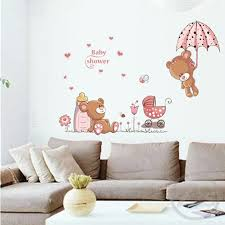 77x77cm Cute Teddy Bear Baby Wall Stickers Children Room Nursery Home Decor Baby Bears Shower Adhesive For Kids Room Wall Stickers Aliexpress