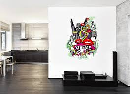 Cik260 Full Color Wall Decal Music Mouth Bass Speaker Mix Of Pop Rock Stickersforlife