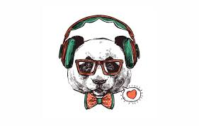 wallpaper love headphones panda bow