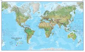 physical world map as a non woven