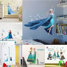 Cartoon Disney Frozen Elsa Anna Princess Wall Stickers For Girls Room Home Decoration Diy Anime Mural Art Movie Kids Wall Decals Wall Stickers Aliexpress