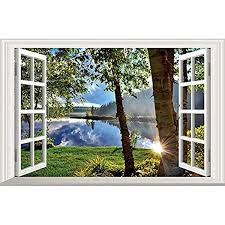 Amazon Com Home Find 3d Fake Windows Wall Stickers Peaceful Lake Sunshine Through The Woods Scenery Decor Frame Window Removable Vinyl Art Murals Bedroom Living Room Home Decals 23 6 X 15 7 Inches Arts