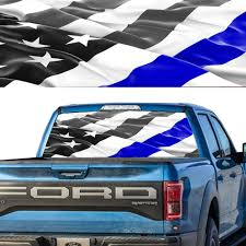 Rear Window Graphic Decal Perforated American Flag Police Blue Thin Line Ebay