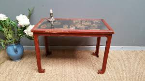 antique asian coffee table with panel