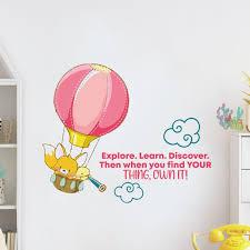 Zoomie Kids Explore Learn Hot Air Balloon Vinyl Wall Decal Wayfair