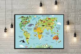 Children World Map Children Room Decor World Map Print Map Etsy