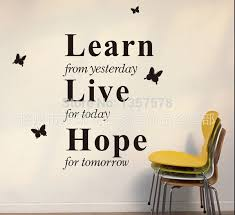 home decor learn from yesterday creative wall sticker quotes think