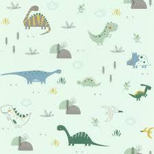 Dinosaurs Wallpaper Kids Children S Room Nursery Mint Green Blue Grey Rasch Ebay