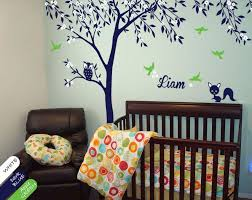 Large Blue Tree With Blossoms Leaves Nursery Wall Decal Decor Walldecaldesigns