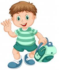 a cute boy student character free vector
