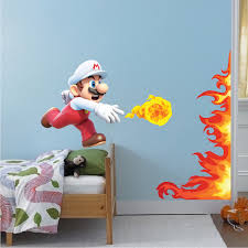Mario Fire Ball Wall Graphic Decal Mario Fire Power Room Decor Fire Mario Wall Stickers Mario Decals Video Game Murals Primedecals