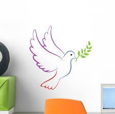 Peace Dove Color Wall Decal Wallmonkeys Com