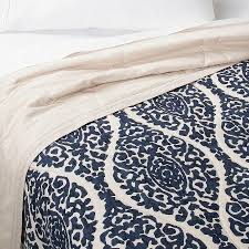 blue damask linen blend printed quilt
