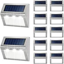 Outdoor Fence Lights 12 Pack Solar Powered Deck Lights Waterproof Stairs Light Stainless Steel Security Wall Lamps For Step Walkway Patio Garden Pathway Cool White Amazon Com