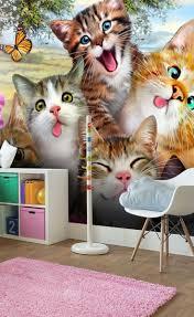 Cat Selfie Wall Mural Wallsauce Us Cat Themed Bedroom Childrens Bedroom Wallpaper Kids Bedroom Wallpaper