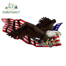 Earlfamily 13cm X 7cm United States Flag With Soaring Eagle Vinyl Car Sticker Car Decal Diy Waterproof Car Accessories Car Stickers Aliexpress