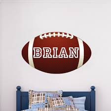 Football Wallpaper With Custom Name Large Football Wall Graphic Boys Room Football Sticker Personalized Sport Monogram Primedecals