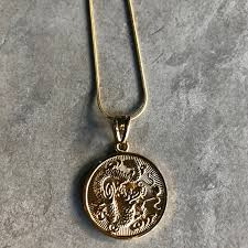 18k gold filled medallion pendant