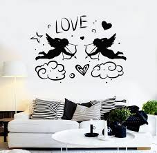 Vinyl Wall Decal Cupids With Bow Love Angels Heart Romance Stickers Mu Wallstickers4you