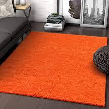 Amazon Com Solid Retro Modern Orange Shag 5x7 5 X 7 2 Area Rug Plain Plush Easy Care Thick Soft Plush Living Room Kids Bedroom Home Kitchen