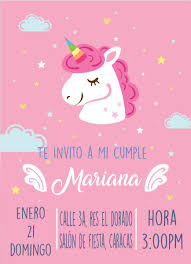 Tarjeta De Invitacion Unicornio Digital Unicornios Kit Bs 500