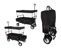 black folding wagon w canopy garden