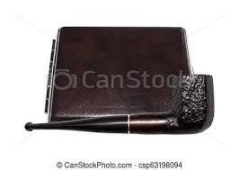 cigarette case leather and smoking pipe