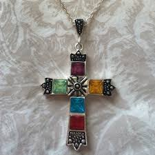 jewelry stained glass cross necklace