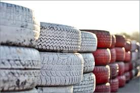 Racetrack Fence Of Tires Image