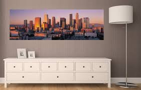 Amazon Com Panoramic Wall Decals Los Angeles Skyline 1 4 Foot Wide Removable Graphic Home Kitchen