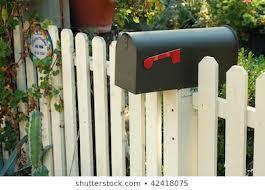 Mailbox On White Picket Fence San Stock Photo Edit Now 42418075