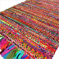 bright rag rug mix of colors fabrics