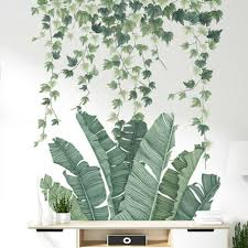 Tropical Leaves Green Plant Wall Stickers Vinyl Decal Nursery Art Mural For Sale Online Ebay