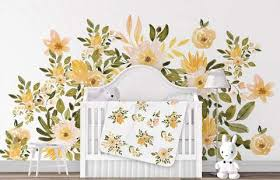 Yellow Floral Nursery Wall Decal