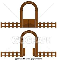 Vector Clipart Vintage Village Or Farm Wooden Gate Arch Design With Fence Vector Illustration Gg86499358 Gograph