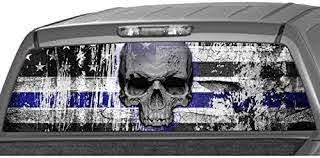 Amazon Com Motorink American Flag Police Blue Line Officer Punisher Skull Rear Window Graphic Decal Tint Sticker Truck Suv Ute Medium 18 X 58 Automotive