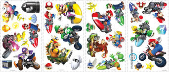 Amazon Com Super Mario Mario Kart Wii Room Makeover Wall Decal Kit Furniture Decor