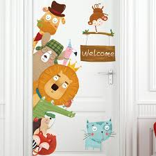 Cartoon Animals Welcome Wall Stickers Living Room Bedroom Kids Room Door Decor Wallpaper Vinyl Wall Decals Art Home Decoration Wall Stickers Aliexpress