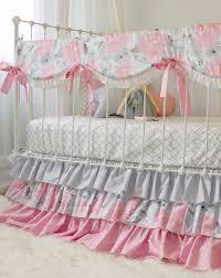 pink gray fawn baby bedding set girls