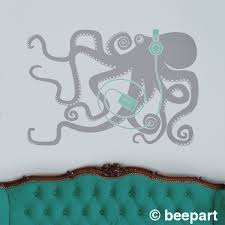 Octopus With Headphones Wall Decal Octopus Art Retro 80s Music Lover Decor Animal Art Sea Creatures Musician Gift Music Lover Gift