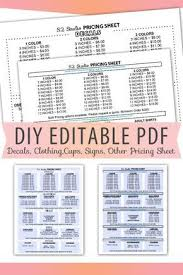 Fillable Editable Text Only Pdf Vinyl Decal Pricing Sheet Etsy Vinyl Decals Custom Forms Pricing Calculator