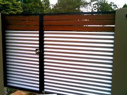 Gate Aluminium Frame With Wood And Corrugated Iron Corrugated Metal Fence Fence Design Fence Panels